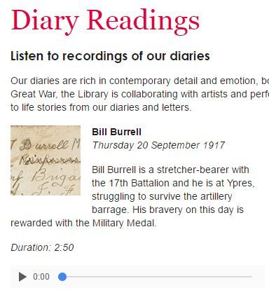 Audio recordings of readings from extracts of WWI diaries. A powerful way for students to grapple with experiences of Australians at war.