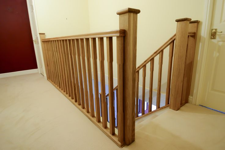Solid oak stair parts -   Made for a customer in Great Boughton, Chester.  Handrails, base rails, stop chamfered spindles, newel posts and square newel caps, all made from our joinery workshop in Backford, Chester.  Made from solid prime grade European oak.