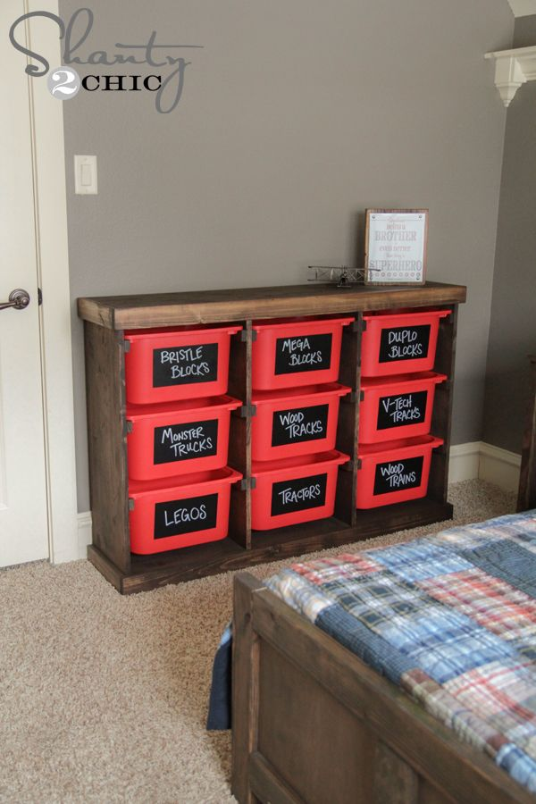 Free plans for a Trofast bucket (from Ikea) storage cabinet. Love these bins for easy toy storage (they're crazy cheap, too.)