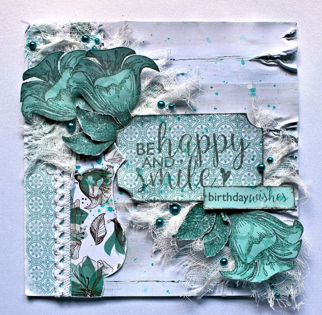Kaisercraft - Sea Breeze - Be Happy and Smile Card - Shabby Chic