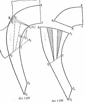чертеж выкройки фантазийного воротника по типу завязывающейся косынки