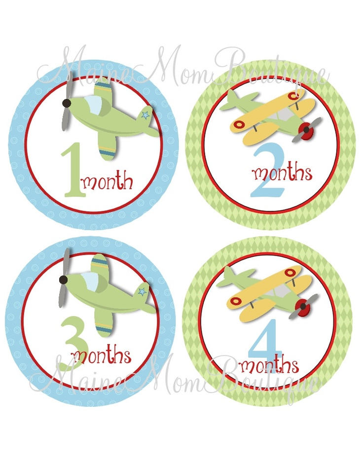 SALE Baby Monthly Onesie Stickers Airplanes Pilot Blue Green FAVORITE new Mom. $8.45, via Etsy.