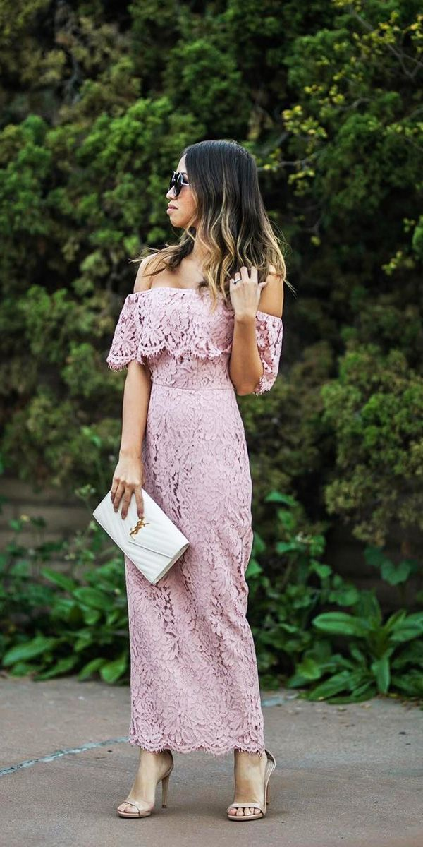 27 Wedding Guest Dresses For Every Seasons & Style ❤ wedding guest dresses long portrait neckline lace spring summer lace and locks ❤ See more: http://www.weddingforward.com/wedding-guest-dresses/ #weddingforward #wedding #bride
