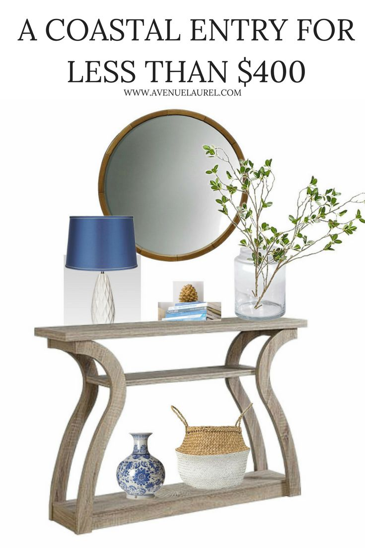Looking for ideas for a coastal entryway? This light and bright coastal entryway with a blue and white theme has a total cost of under $400- including the console table, mirror, and most of the decor! It is a simple and beautiful but affordable look. Check it out!