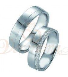 Βέρες γάμου από πλατίνα με διαμάντι Breuning 9074-9075