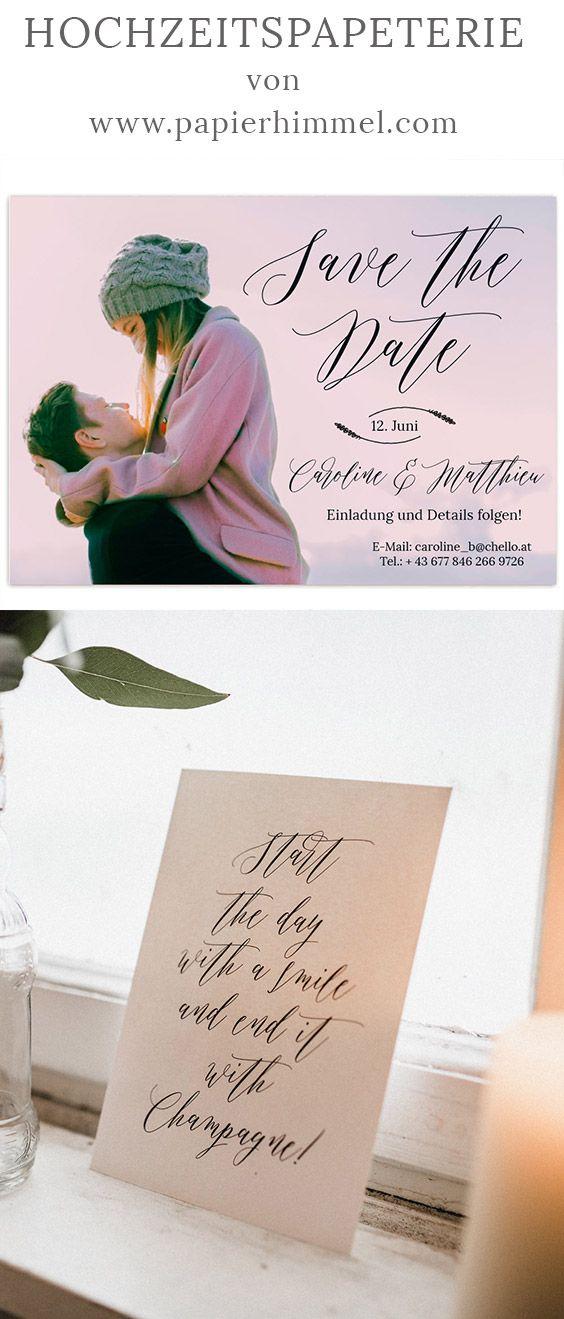 Moderne Save The Dates Fur Die Hochzeit Papierhimmel Pinterest