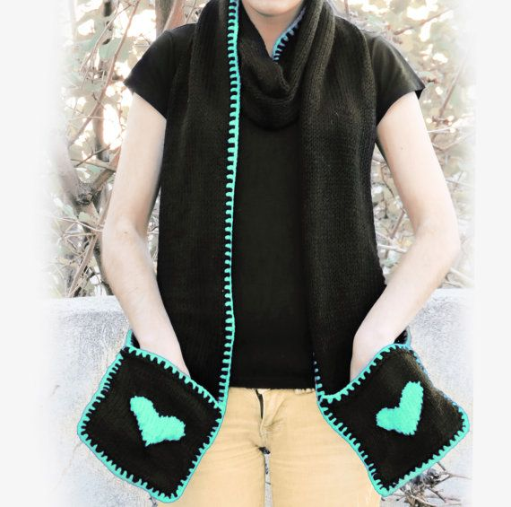 Knitted Yellow Heart Scarf with Pockets  SCARVES  by EmofoFashion, $52.00
