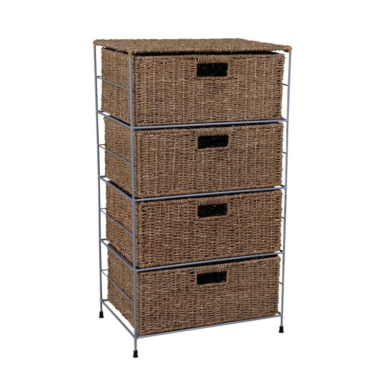 Form Beige Iron & Seagrass 4 Drawer Tower Unit | Departments | DIY at B&Q
