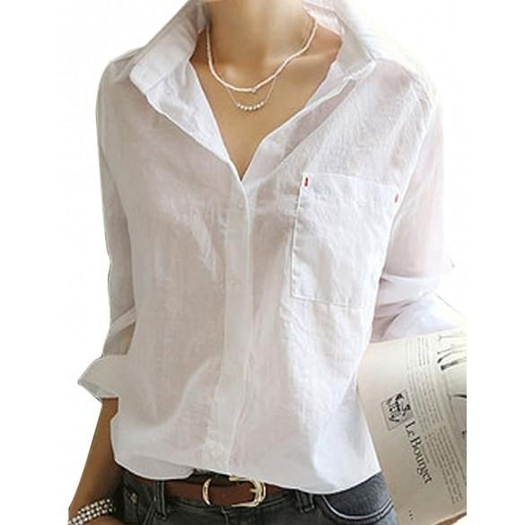 6d7a111e Women T Shirt Button Down Tops Blouse White Sexy OL Long Sleeve Tee Shirt  Hotsale