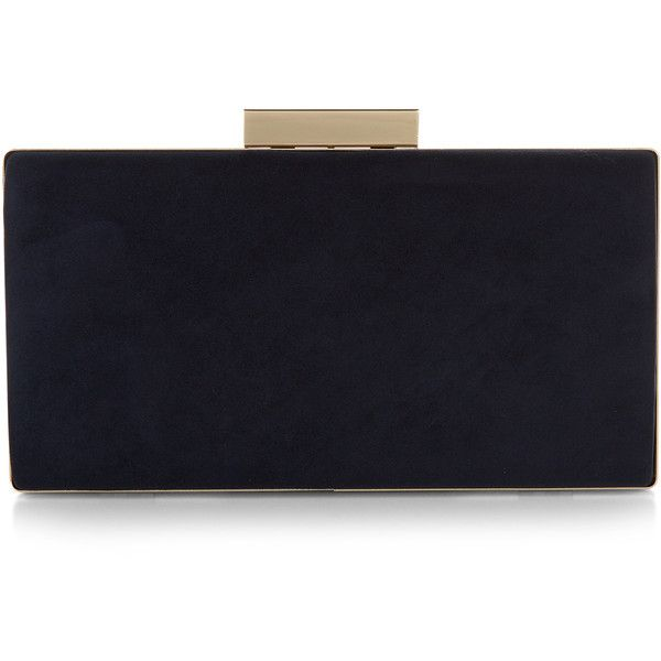 Monsoon Farah Box Clutch Bag found on Polyvore featuring bags, handbags, clutches, chain handle handbags, hard clutch, over the shoulder handbags, chain strap purse and blue handbags
