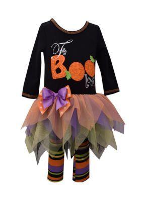Bonnie Jean Halloween Tutu Dress And Printed Leggings 2-Piece Set - Black - 12 Months