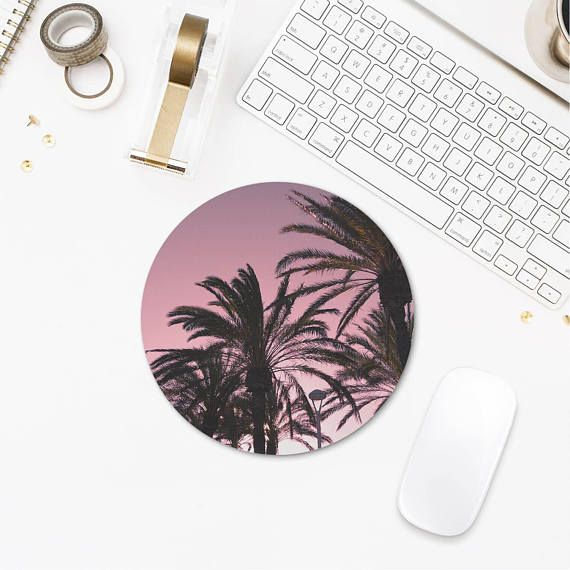 Pink Palm Tree Mouse Pad, Tropical Mousepad, Mouse Pad Trees, Mouse Pad Nature, Computer Accessories, Office Desk Gifts