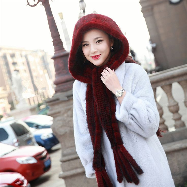 Women's Genuine Real Knitted Mink Hooded Fur Scarves with Tassels Lady Pashmina Wraps Autumn Winter Women Fur Shawls #Affiliate