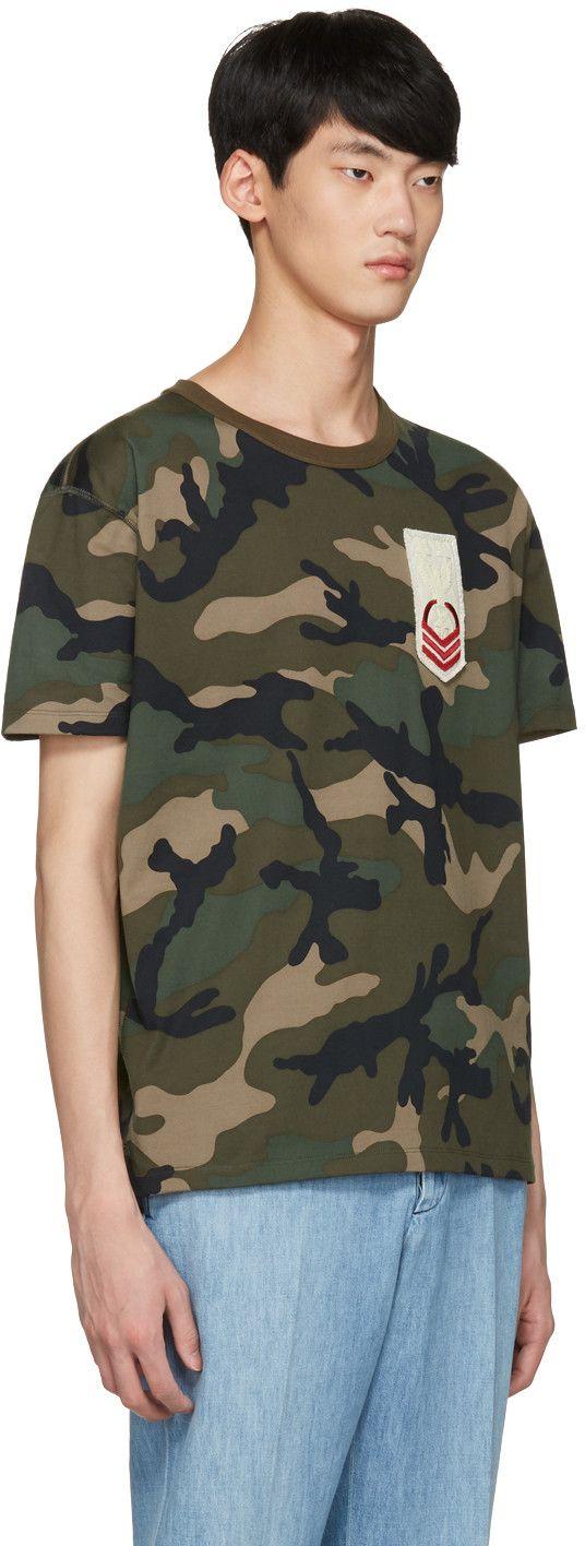Valentino - Green Embroidered Camo T-Shirt