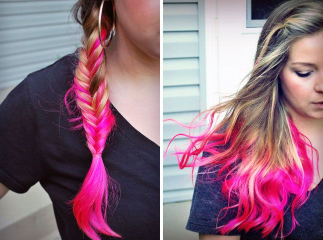 Dip Dyed Pink Hair | 28 DIY Hairstyles--I have a pacakge of pink temporary dye in my bathroom but I havn't built up the courage to do it yet....