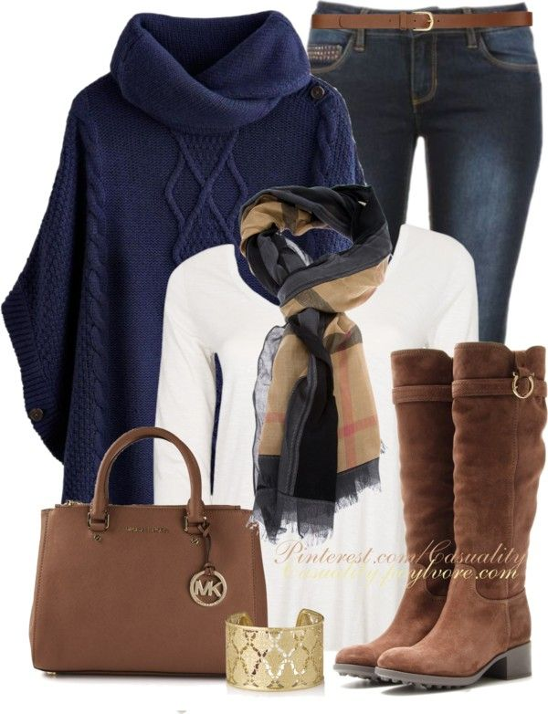 Burberry Haymarket & Navy Poncho Sweater Outfit