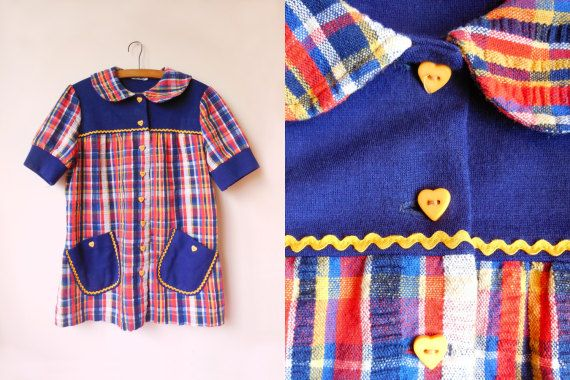 vintage 60s/70s colorful plaid blouse with by starseedvintage