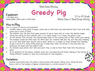 Math Game: Greedy Pig (Gr. 2 - 4: Probability and Chance)