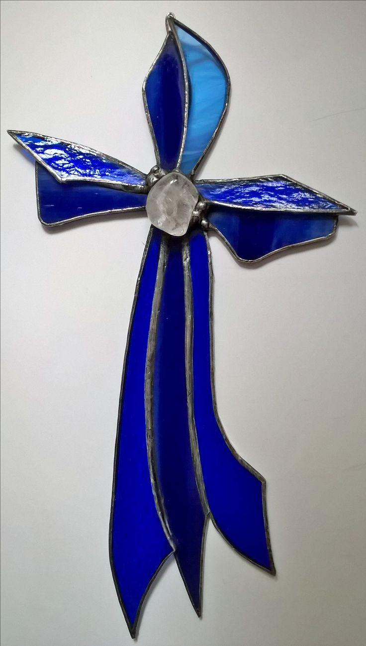 Stained glass blue cross modry tiffany kriz