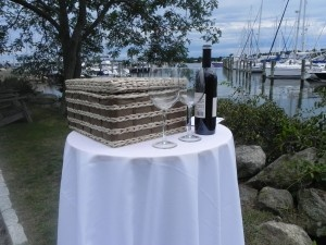 Wine Box Ceremony: Bride & Groom place sealed love letters, wine & Glasses in box.Wine Glass