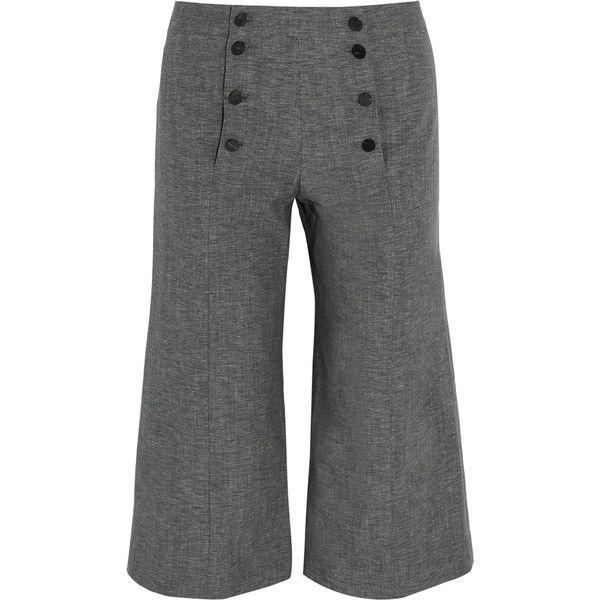 J.w.anderson Denim Culottes ($248) ❤ liked on Polyvore featuring pants, capris, denim trousers, grey denim pants, denim pants, gray pants and j.w. anderson