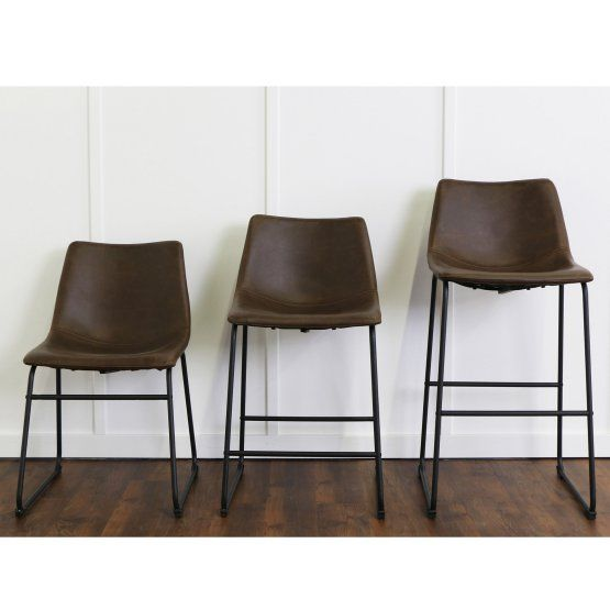 Walker Edison Faux Leather Counter Stools - Set of 2