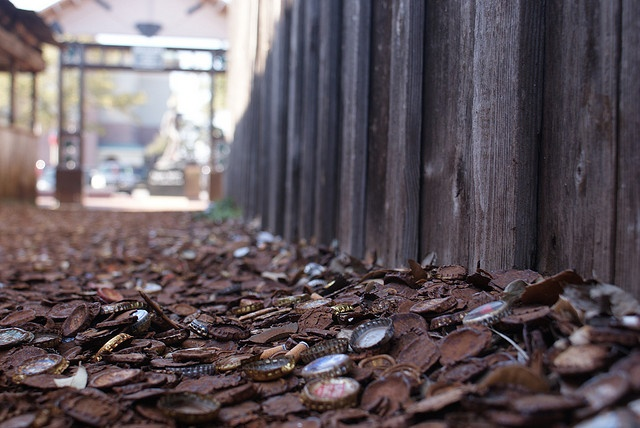 Bottle Cap Alley - runs between the Dixie Chicken and The Dry Bean Salon in Northgate, College Station, Aggieland.