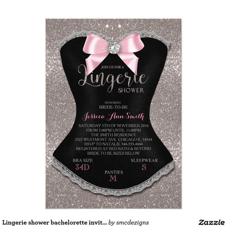 Lingerie shower bachelorette invitation silver