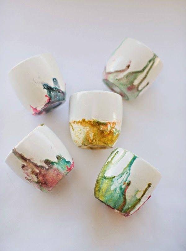 Cómo decorar tazones de cerámica con barniz de uñas ~ Mimundomanual