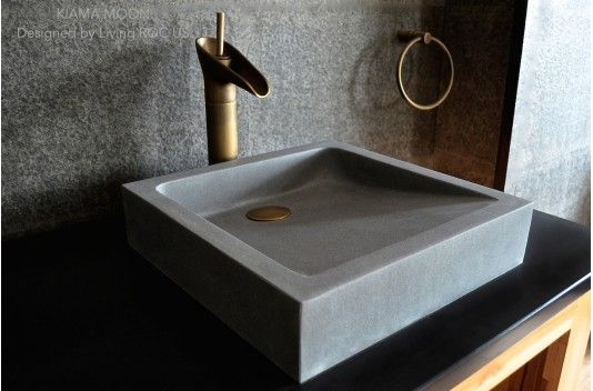 16″ Bathroom Sink Gray Basalt Stone Concrete look KIAMA MOON