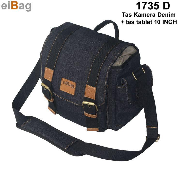 Tas kamera dry denim murah model selempang sistim insert case ada tempat untuk tablet 10 INCH produk EIBAG Bandung dengan kode 1753 D, free cover bag