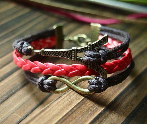 Infinity Eiffel Tower Bracelet, Charm Bracelet in Bronze--Brown Wax Cords RED Braided Leather Bracelet-Personalized Women Friendship Jewelry