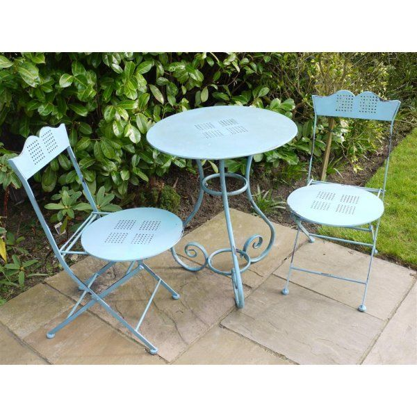 Buy Shabby Chic Blue 2 Seater Bistro Set | Swanky Interiors