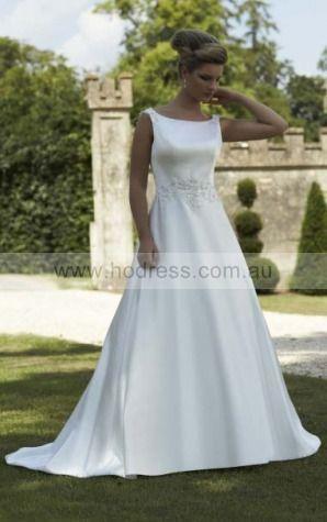 Scoop Satin Natural Zipper Wedding Dresses glcf1005--Hodress