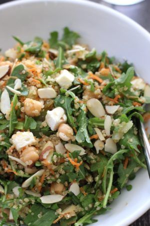 Quinoa Salad with Chickpeas Arugula Feta and Almonds | Green Valley Kitchen