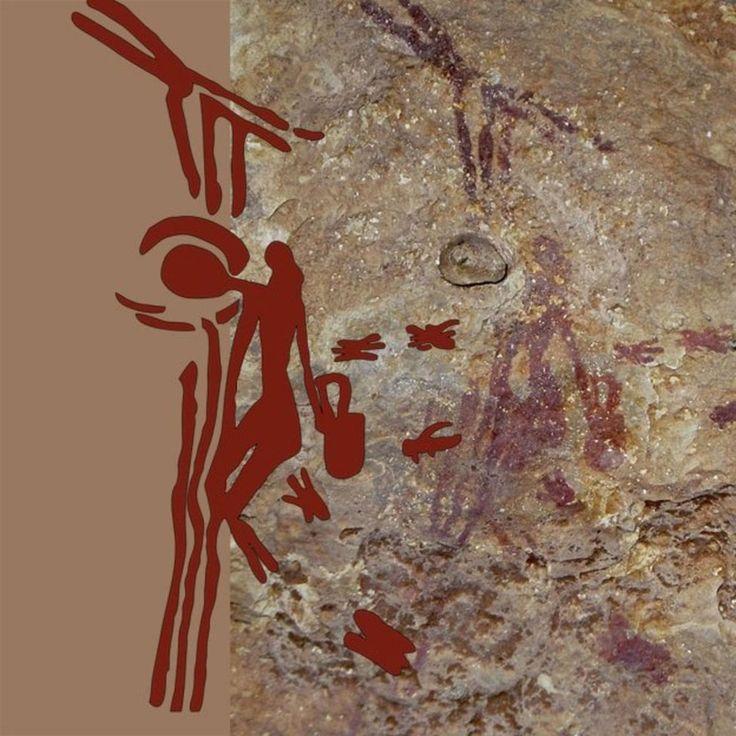 Desenho antigo mostra um homem pendurado em um cipó e alcançando uma colmeia para coletar mel de abelhas selvagens (Foto: BBC)A imagem acima é de uma pintura rupestre, talvez a mais famosa, que …