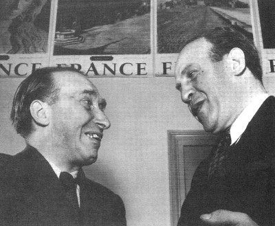 "Oskar Schindler (right) with business partner Itzhak Stern (left). Stern (1901-1969) was Schindler's accountant and a Jew. Despite the fact that Schindler was a Nazi, he respected Stern greatly, and it was Stern who convinced Schindler to help the 1100+ Jews. Stern also typed up the famous ""Schindler's List"". http://www.lunch.com/Reviews/movie/Schindler_s_List-Photos-1553915-The_Real_Itzhak_Stern_and_Oskar_Schindler-169120.html?pid=0"
