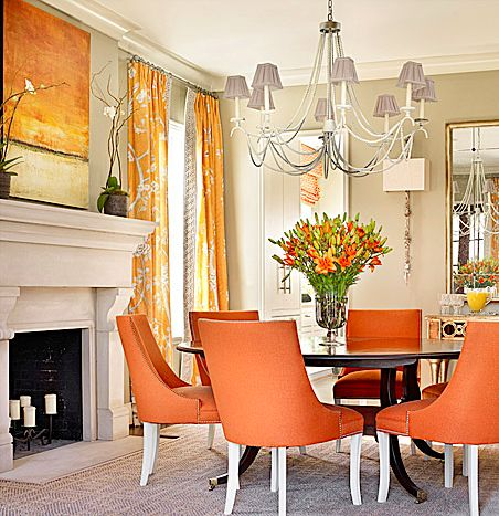Orange is the New Black, Catherine Austin, dining room, interior design, orange chairs, fireplace