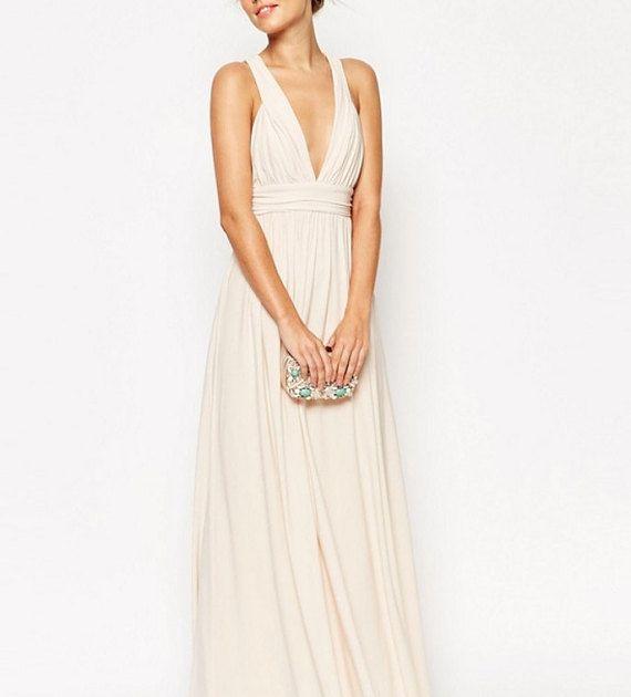 Beige demoiselle d'honneur robe longue robe par LaurelBloomsLabel