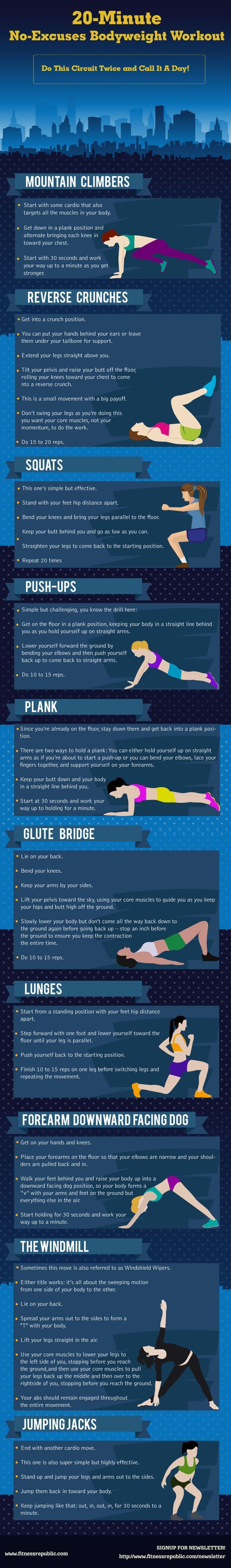 Looking for a great body workout? Who needs a gym when there is the living room floor? Whip out this body weight routine in 20 minutes.