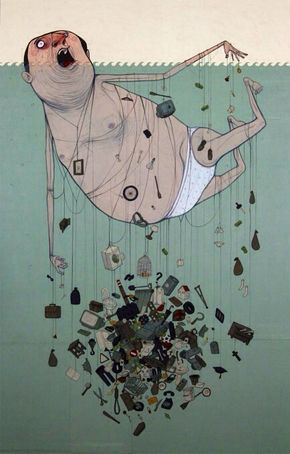 Nemo street art All the things in life that are pulling you down/underwater. (concept)