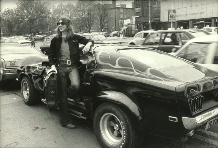 Mick Ralphs and his American Mustang with Flames. Every Classic Rockstar's Dream of America.