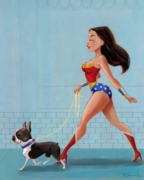wonder woman rescued | Wonder Woman walking a boston terrier by rubenacker on Etsy, $18.00 ...