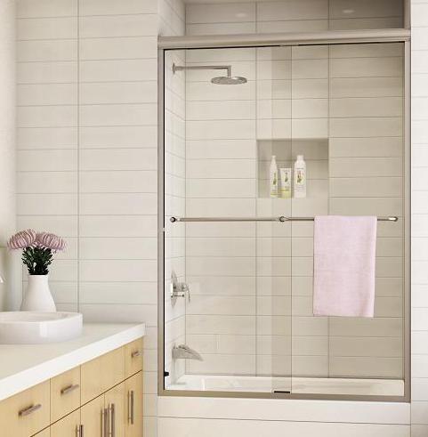 walk in sliding glass shower doornice tiles on wall quartz counter