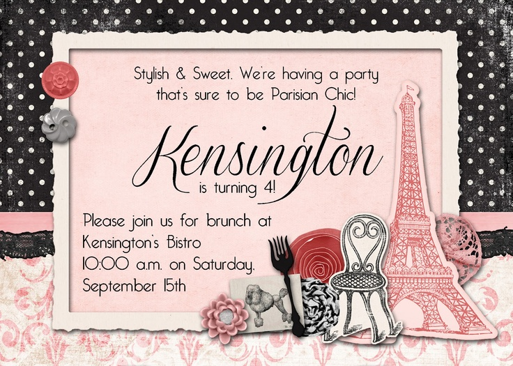 Slightly Askew Designs - French Bistro Birthday Party Invitation: Birthday Party Invitations, French Bistro, Birthday Parties Invitations, Bistros Birthday