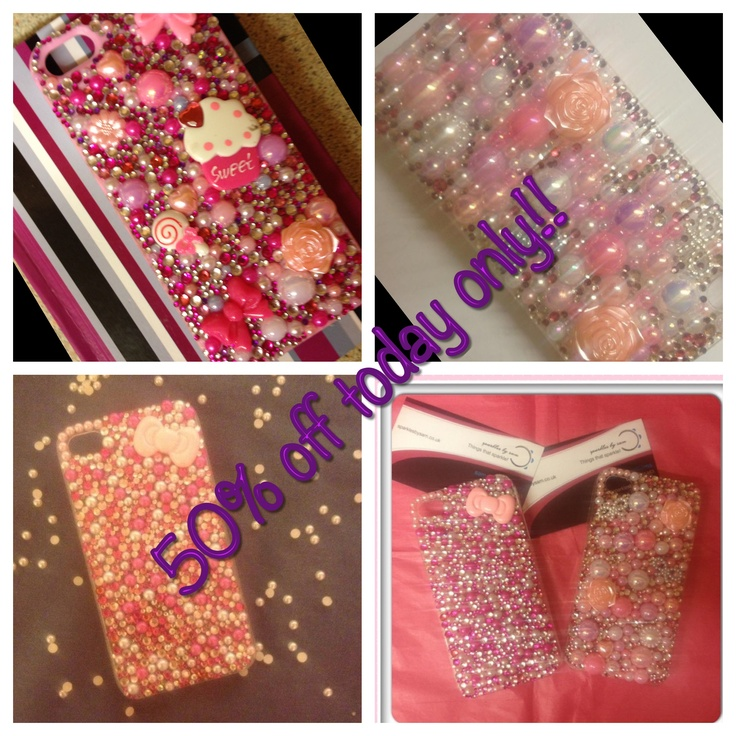 50% off our phone cases today only!! Email sam@sparklesbysam.co.uk for info!  Genuine Swarovski & pearl crystallised cases made for most phone models. Xx