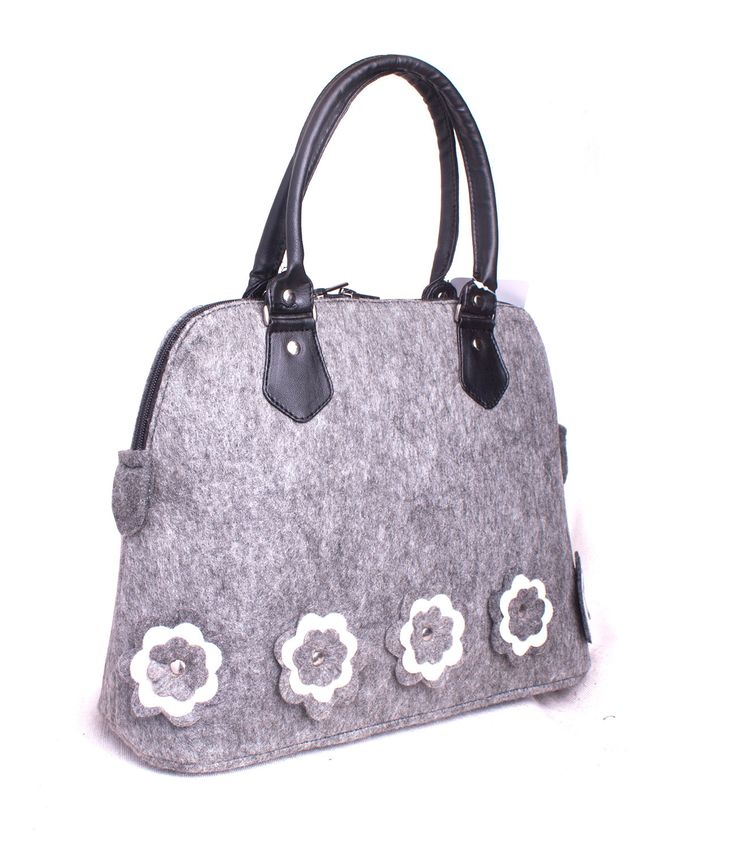 Felt tote bag Shopping bag Floral felt bag Felted shopper Grey felted bag Felt shoulder bag Felt purse Woman handbag Ladies messenger bag by volaris on Etsy