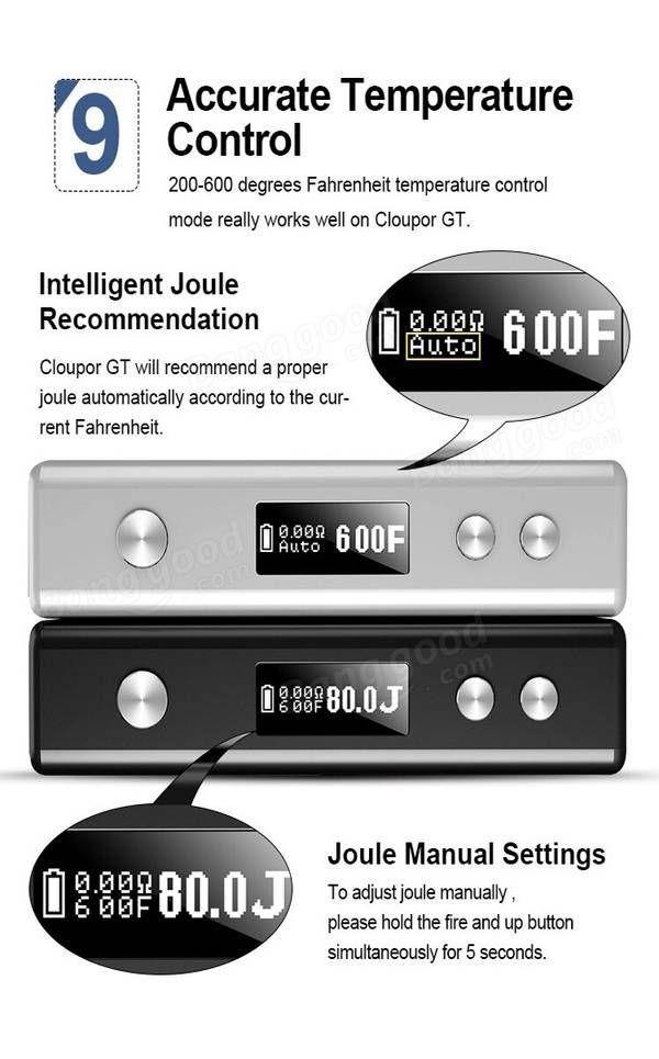 Cloupor GT 80W Dual 18650 Battery Temperature Control Box Mod 3 Colors
