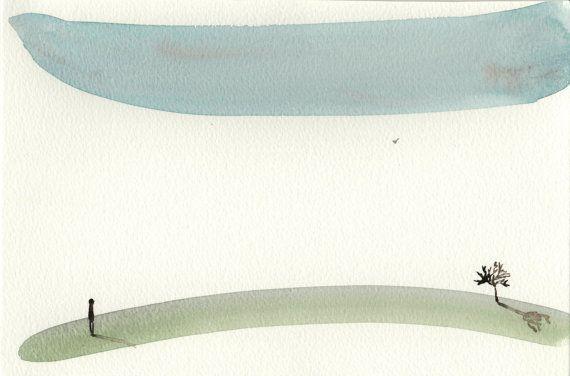 Acquerello astratto di un paesaggio minimalista blu e verde con uomo solitario e albero by MarMusArt #italiasmartteam #etsy
