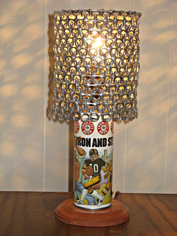 Vintage Iron City Beer Men of Iron City Pittsburgh Steelers Penguins Pirates beer can lamp with pull tab lampshade by LicenseToCraft, $35.00